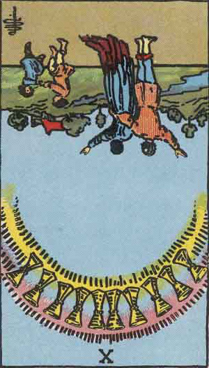 The Reversed Ten Of Cups Tarot Card From The Rider-Waite Tarot Deck.