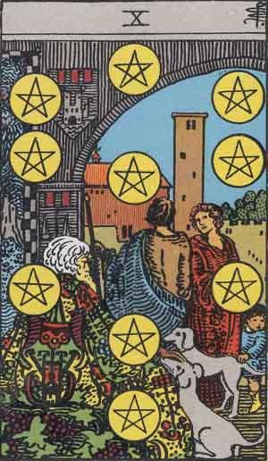 The Ten Of Pentacles Tarot Card From The Rider-Waite Tarot Deck.