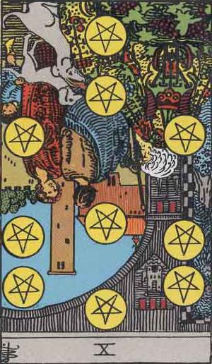 The Reversed Ten Of Pentacles Tarot Card From The Rider-Waite Tarot Deck.
