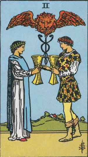 The Two Of Cups Tarot Card From The Rider Wait Tarot Deck.