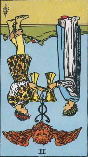 The Reversed Two Of Cups Tarot Card From The Rider-Waite Tarot Deck.