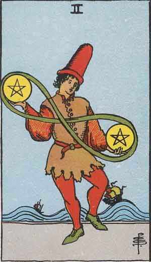 The Two Of Pentacles Tarot Card From The Rider Wait Tarot Deck.