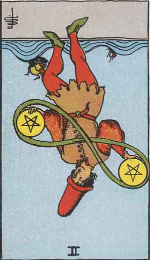 The Reversed Two Of Pentacles Tarot Card From The Rider-Waite Tarot Deck.