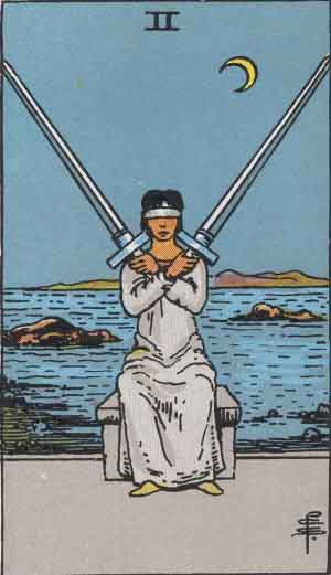 The Two Of Swords Tarot Card From The Rider-Waite Tarot Deck.