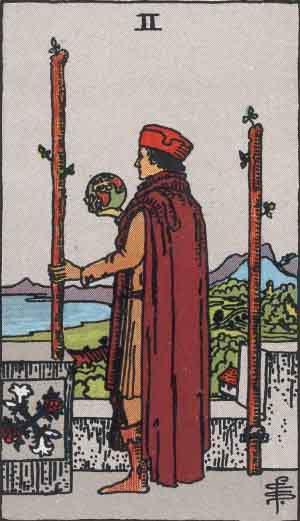 The Two Of Wands Tarot Card From The Rider Wait Tarot Deck.