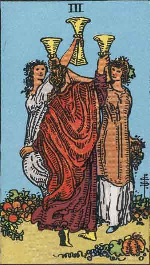 The Three Of Cups Tarot Card From The Rider-Waite Tarot Deck.