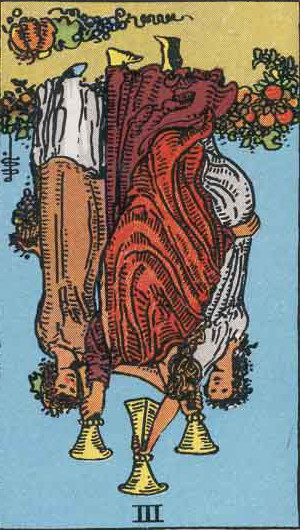 The Reversed Three Of Cups Tarot Card From The Rider-Waite Tarot Deck.