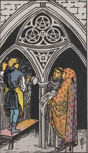 The Three Of Pentacles Tarot Card From The Rider-Waite Tarot Deck.