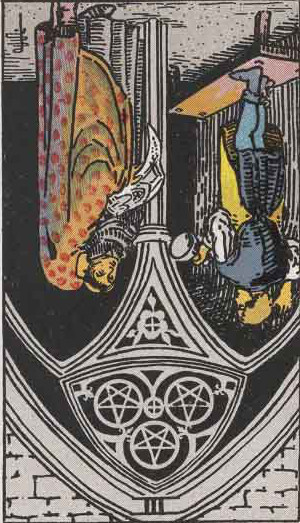 The Reversed Three Of Pentacles Tarot Card From The Rider-Waite Tarot Deck.