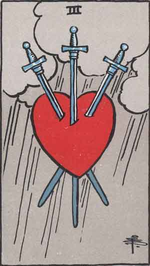 The Three Of Swords Tarot Card From The Rider-Waite Tarot Deck.