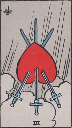 The Reversed Three Of Swords Tarot Card From The Rider-Waite Tarot Deck.