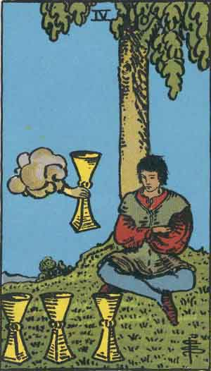 The Four Of Cups Tarot Card From The Rider-Waite Tarot Deck.