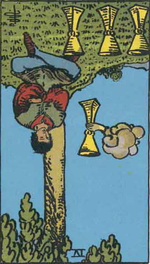 The Reversed Four Of Cups Tarot Card From The Rider-Waite Tarot Deck.