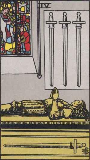 The Four Of Swords Tarot Card From The Rider-Waite Tarot Deck.