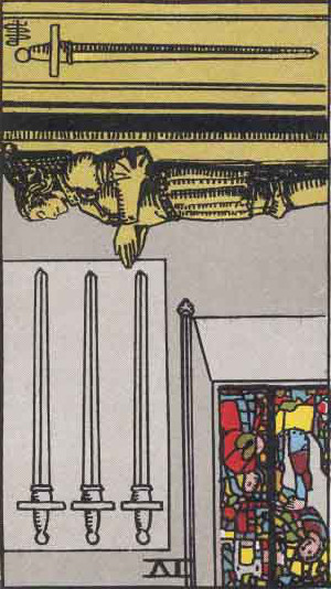 The Reversed Four Of Swords Tarot Card From The Rider-Waite Tarot Deck.