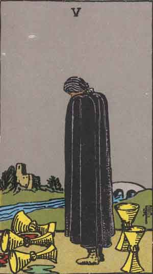 The Five Of Cups Tarot Card From The Rider-Waite Tarot Deck.