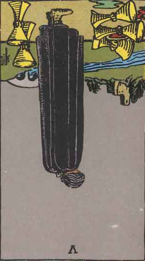 The Reversed Five Of Cups Tarot Card From The Rider-Waite Tarot Deck.