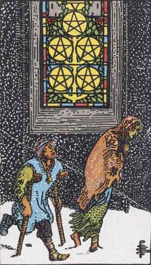 The Five Of Pentacles Tarot Card From The Rider-Waite Tarot Deck.