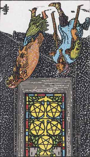 The Reversed Five Of Pentacles Tarot Card From The Rider-Waite Tarot Deck.