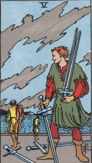 The Five Of Swords Tarot Card From The Rider-Waite Tarot Deck.