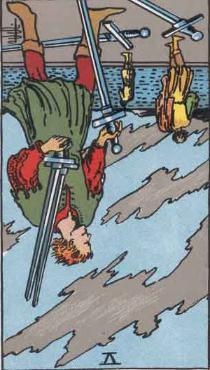 The Reversed Five Of Swords Tarot Card From The Rider-Waite Tarot Deck.