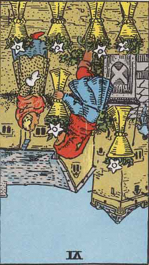 The Reversed Six Of Cups Tarot Card From The Rider-Waite Tarot Deck.