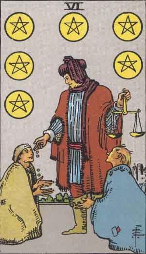 The Six Of Pentacles Tarot Card From The Rider-Waite Tarot Deck.