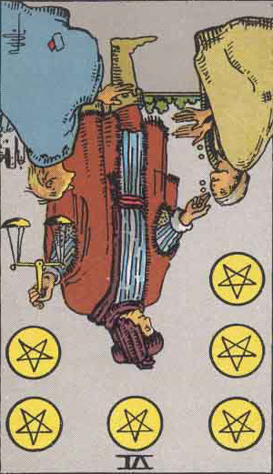 The Reversed Six Of Pentacles Tarot Card From The Rider-Waite Tarot Deck.