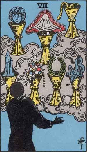 The Seven Of Cups Tarot Card From The Rider-Waite Tarot Deck.