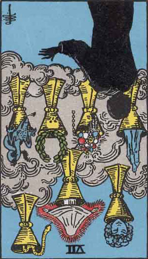 The Reversed Seven Of Cups Tarot Card From The Rider-Waite Tarot Deck.