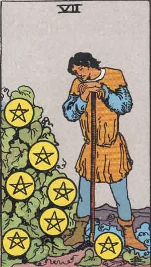 The Seven Of Pentacles Tarot Card From The Rider-Waite Tarot Deck.