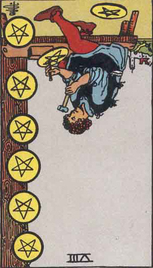 The Reversed Eight Of Pentacles Tarot Card From The Rider-Waite Tarot Deck.