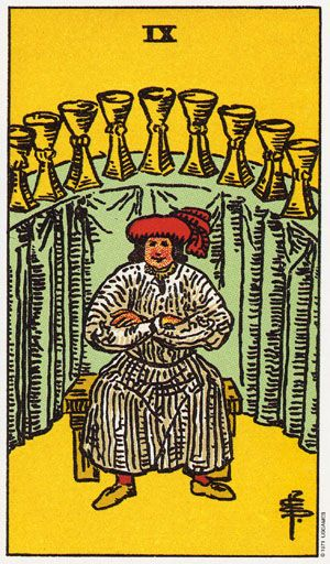 The Nine Of Cups Tarot Card From The Rider Wait Tarot Deck.