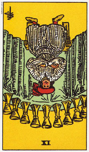 The Reversed Nine Of Cups Tarot Card From The Rider-Waite Tarot Deck.
