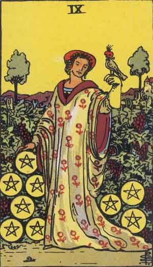 The Nine Of Pentacles Tarot Card From The Rider-Waite Tarot Deck.