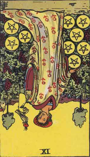 The Reversed Nine Of Pentacles Tarot Card From The Rider-Waite Tarot Deck.