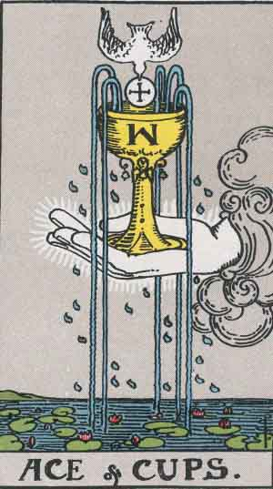 The Ace Of Cups Tarot Card From The Rider-Waite Tarot Deck.