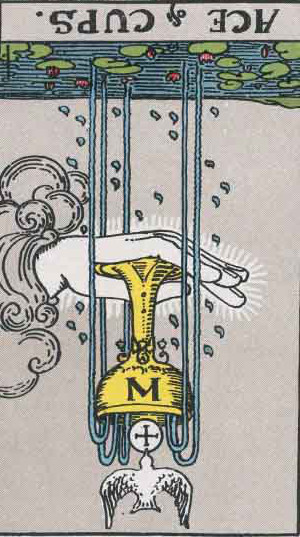 The Reversed Ace Of Cups Tarot Card From The Rider-Waite Tarot Deck.