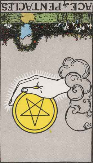 The Reversed Ace Of Pentacles Tarot Card From The Rider-Waite Tarot Deck.