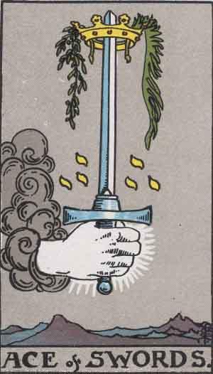 The Ace Of Swords Tarot Card From The Rider-Waite Tarot Deck.