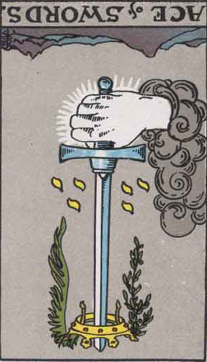 The Reversed Ace Of Swords Tarot Card From The Rider-Waite Tarot Deck.