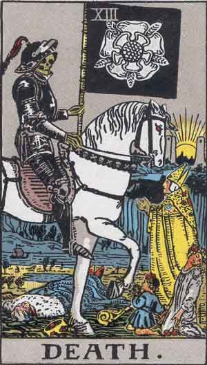 The Death Tarot Card From The Rider-Waite Tarot Deck.