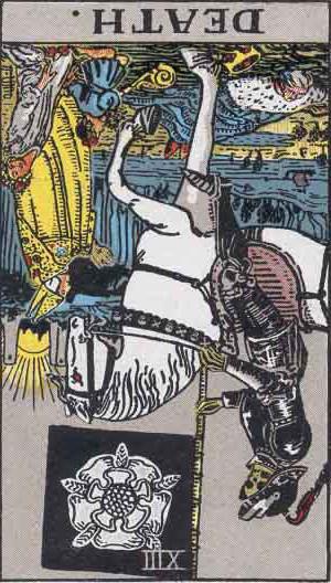 The Reversed Death Tarot Card From The Rider-Waite Tarot Deck.