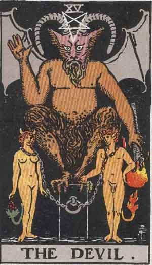 The Devil Tarot Card From The Rider-Waite Tarot Deck.