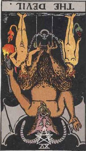 The Reversed Devil Tarot Card From The Rider-Waite Tarot Deck.