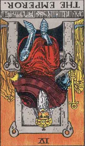 The Reversed Emperor Tarot Card From The Rider-Waite Tarot Deck.