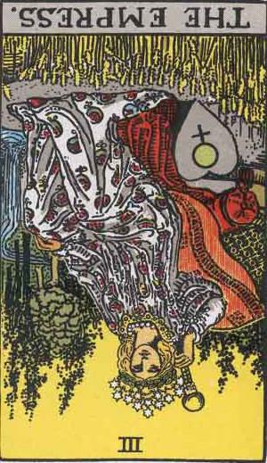 The Reversed Empress Tarot Card From The Rider-Waite Tarot Deck.