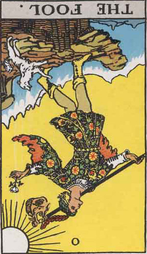 The Fool Reversed Tarot Card From The Rider-Waite Tarot Deck.