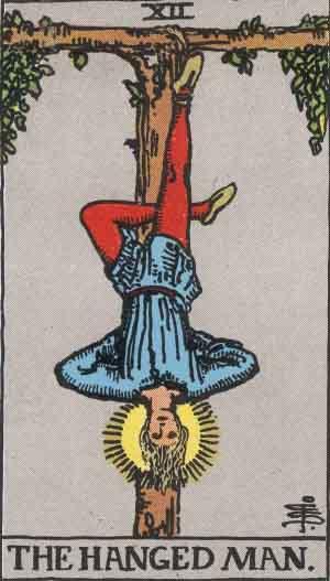 The Hanged Man Tarot Card From The Rider-Waite Tarot Deck.