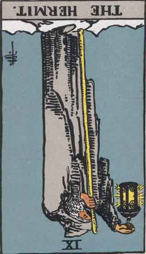 The Reversed Hermit Tarot Card From The Rider-Waite Tarot Deck.